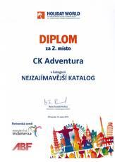 Diplom za 2. místo v kategorii Nejzajímavější katalog - Holiday World 2019